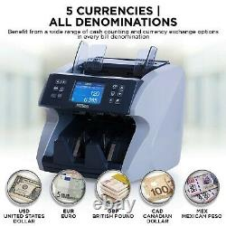 Bank Grade Mixed Denomination Money Counter Machine Bill Currency Value Counting