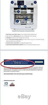 Cassida Zeus 2-Pocket Pro Series 7-Currency Discriminator Bill Money Counter