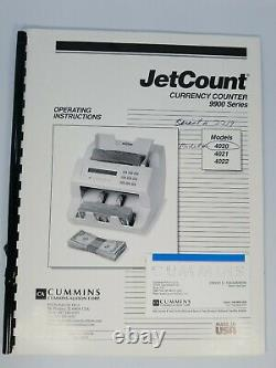 Cummins Allision JetCount Model 4020 Cash Bill Money Currency Counter with wraps