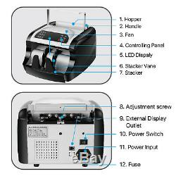 Money Bill Cash Currency Banknote Counter Machine with UV, MG, IR Counterfeit
