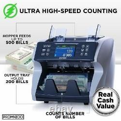 Promnico Money Bill Counter Machine Cash Value Counting for Multiple Currency